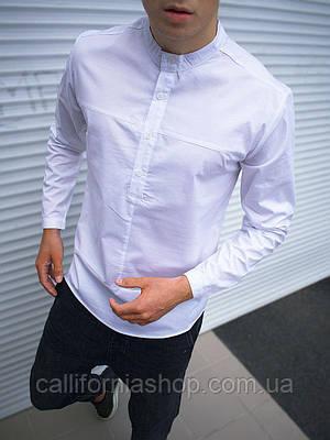 Рубашка мужская белая с длинным рукавом воротником стойкой однотонная хлопковая Турция