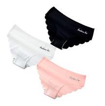 Трусики бесшовные женские, черные, розовые, белые, XL (48 размер) - в наборе 3шт. 75% нейлон, 25% спандекс