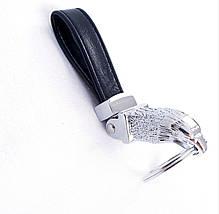 Брелок для ключей Dalaful, кожа, хромированный (Орёл) тяжелый надежный металлический, фото 3