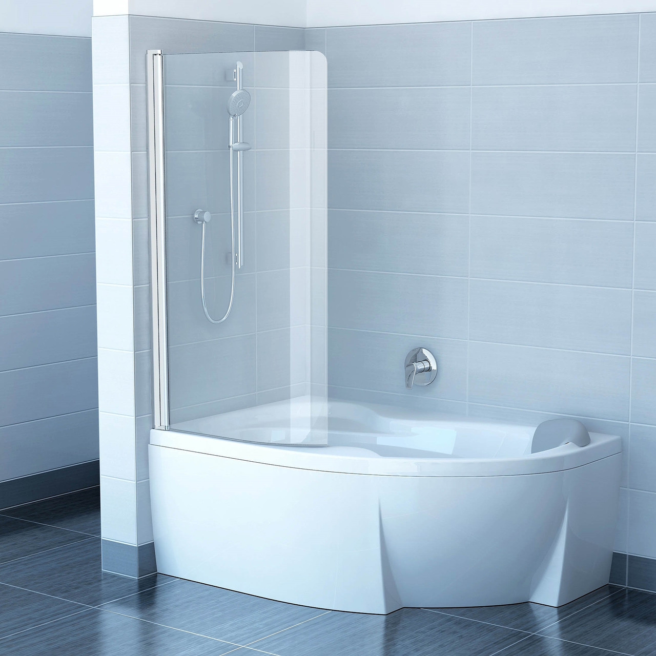 Шторки для ванни CVSK1-160/170 L Сатин (Transparent)