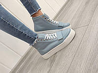 Кожаные спортивные ботинки на платформе, фото 1