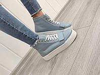 Шкіряні спортивні черевики на платформі, фото 1