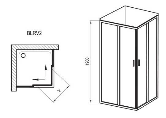 BLRV 2K-90 white (Grape) Душовий куточок, фото 2