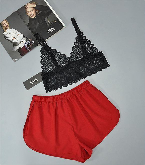 Кружевной бюстгальтер и шорты комплект пижама 220- черно-красный.