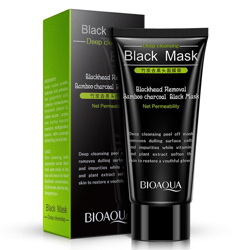 Черная маска-пленка с углем от черных точек Bioaqua Black Mask Blackhead Removal, 60 г