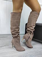 Жіночі замшеві чоботи на шпильці, фото 1