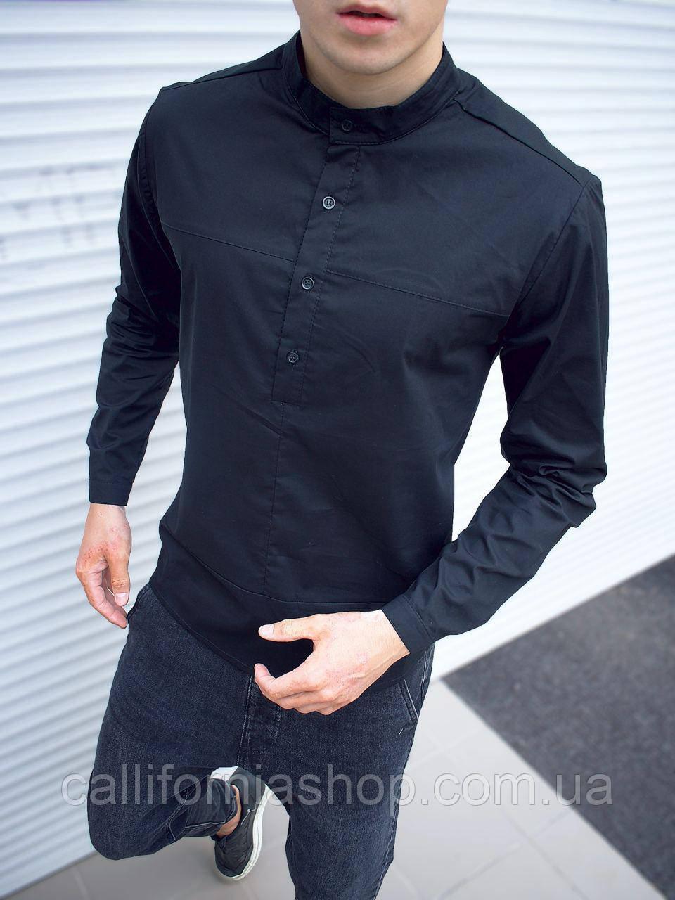 Рубашка мужская черная с длинным рукавом воротником стойкой однотонная хлопковая Турция