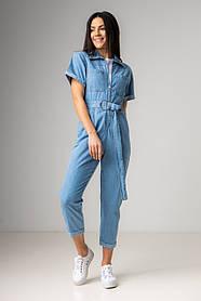 Голубой джинсовый длинный комбинезон в размерах: S, M, L, XL.