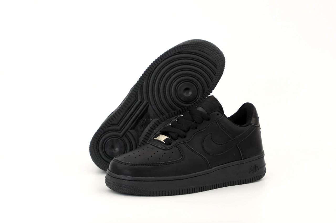 Кросівки Nike Air Force 1 Low Black (низькі Чорні кросівки Найк Аір Форс 1 жіночі і чоловічі 36-45)