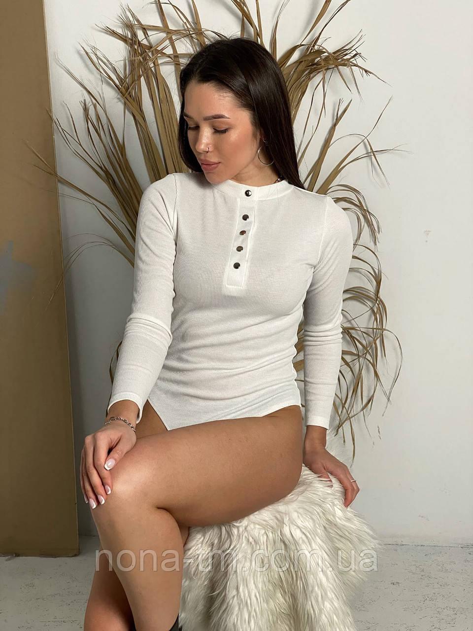 Жіноче боді з довгим рукавом в рубчик