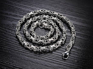 """Цепочка мужская из медицинской стали """"Steel Rage White""""  византийское плетение, фото 2"""