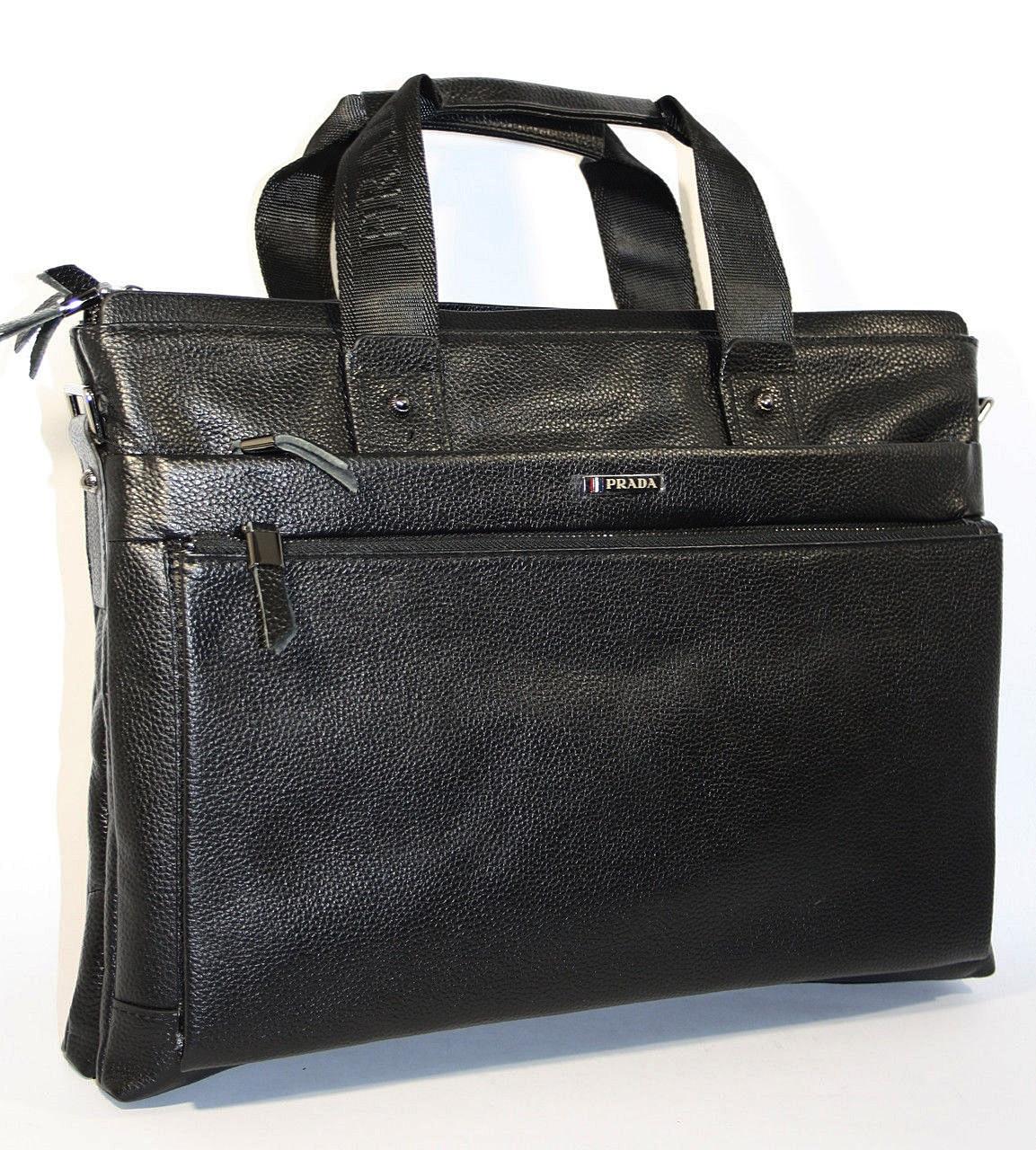Портфель кожаный черный Prada 1023