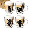 201-21 Чашка з подвійною стінкою 400мл Black cat