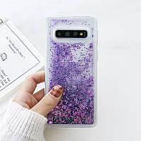 Чехол с сердечками и блестками в жидкости для Samsung Galaxy S10, Фиолетовый