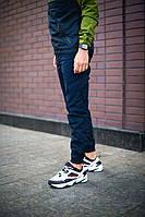 Мужские стильные штаны карго с манжетом (cиние). Штаны с клапанами
