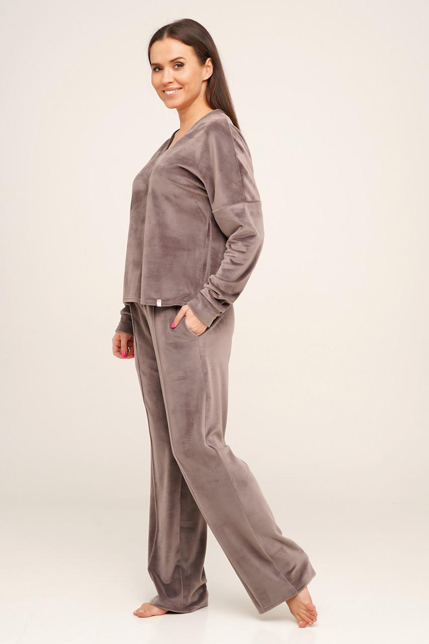Бордова жіноча піжама велюрова