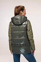 Демисезонная куртка с контрастной спинкой и отстегивающимся капюшоном с 44 по 54 размер, фото 5