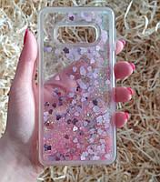 Чехол с сердечками и блестками в жидкости для Samsung Galaxy S10e, Розовый