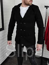 Мужское пальто двубортное с капюшоном серое из кашемира