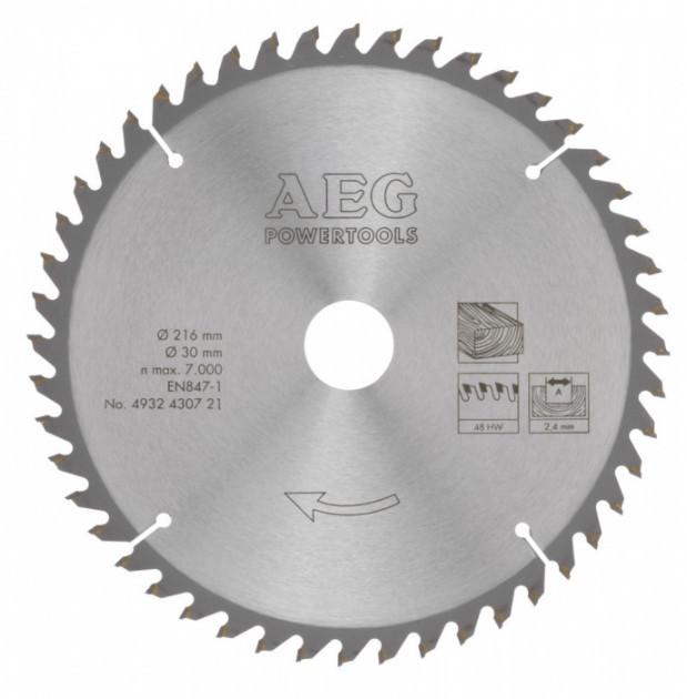 Диск пильный по дереву 216 X 30 X 2.4 мм/48 зубов AEG 4932430721 (Германия)