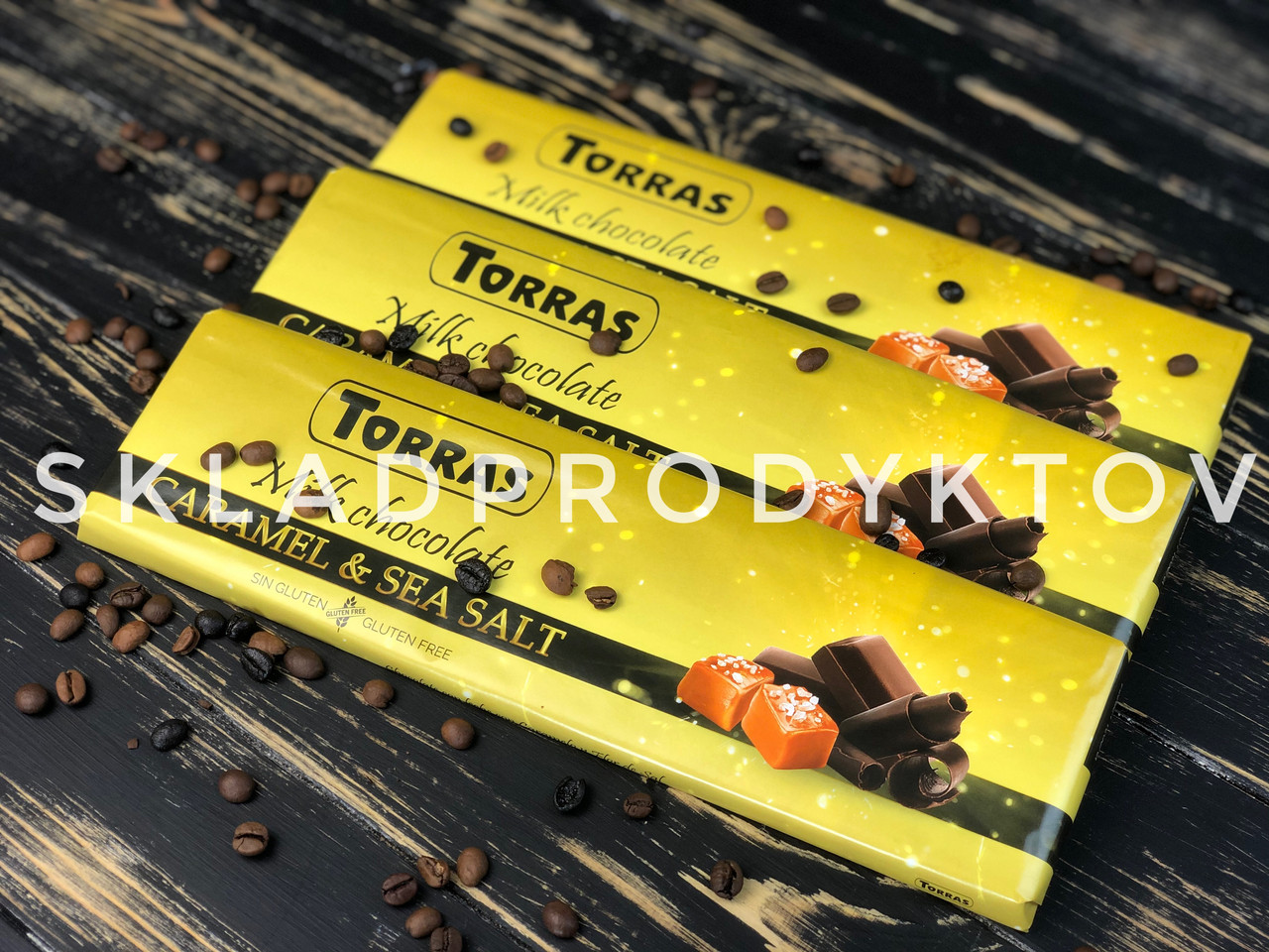 Шоколад молочный карамель и морская соль Torras, 300 г