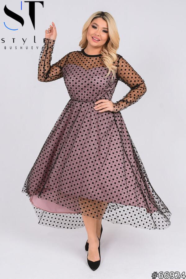 Вечернее платье | Сетка флок +подкладка(трикотаж) | Пудра |р-р 50-52,54-56,58-60