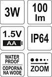 Фонарь карманный светодиодный 100 лм. Yato YT-08571 (Польша), фото 6