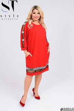 Вечірня сукня | Креп-дайвінг + стрічка велюр | червоний | р-р 50-52,54-56,58-60