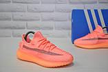 Жіночі кросівки коралові Yeezy Boost, фото 3