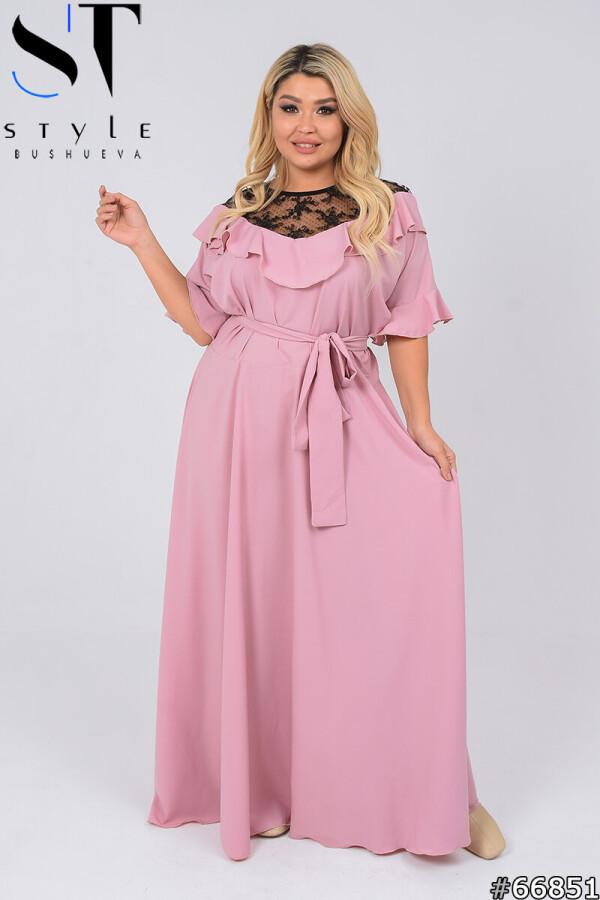 Вечернее платье | Софт+кружево | Розовый |р-р 50-52,54-56,58-60,62-64