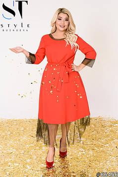 Вечірня сукня | Креп-костюмка + сітка | червоний | р-р 52-54,56-58,60-62