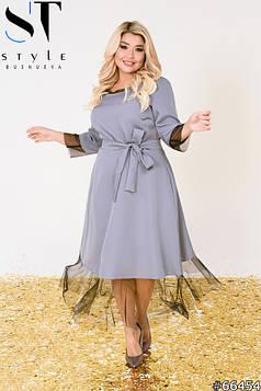 Вечірня сукня | Креп-костюмка + сітка | Сірий | р-р 52-54,56-58,60-62