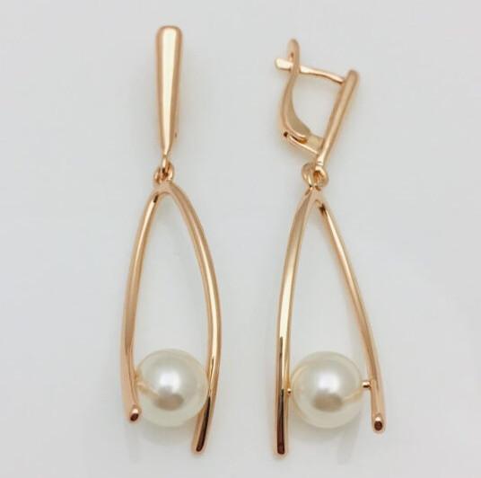 Сережки з перлами, висота 48 мм ширина 11 мм, позолота 18К, ювелірна біжутерія Fallon