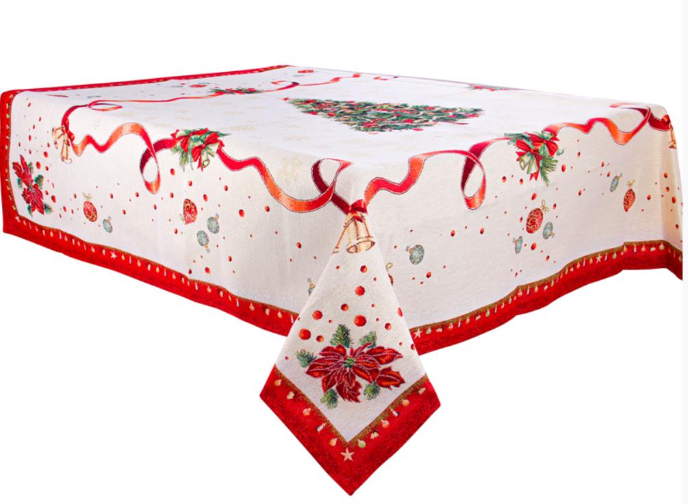 """Скатертина святкова гобеленова з люрексом """"Navidad"""" ТМ Lеfard, розмір 140х180 см"""