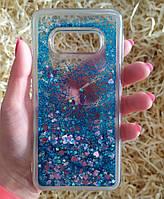 Чехол с сердечками и блестками в жидкости для Samsung Galaxy S10e, Голубой