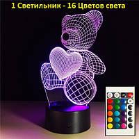 """3D Світильник """"Ведмедик"""", світильник у формі сердець. 1 світильник - 16 кольорів світла. Подарунки на день закоханих"""
