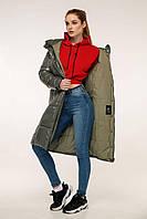 Зимовий стеганний пуховик з капюшоном напівприлягаючого силуету з 44 по 54 розмір, фото 6