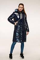 Зимовий стеганний пуховик з капюшоном напівприлягаючого силуету з 44 по 54 розмір, фото 2