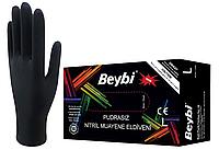 Перчатки нитриловые Черные M (BEYBI)100шт 4гр