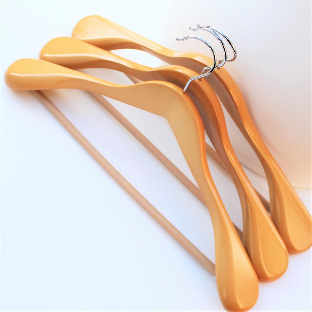 Вешалки плечики тремпеля деревянные для верхней зимней одежды с антискользящей перекладиной, 45 см