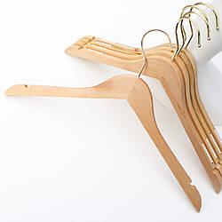 Плечики вешалки тремпеля деревянные для одежды прорезиненные в гардероб с золотым крючком , 44 см