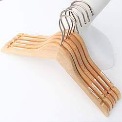 Плечики вешалки деревянные для женской одежды, свитеров, трикотажа, платьев прорезиненные, 39 см