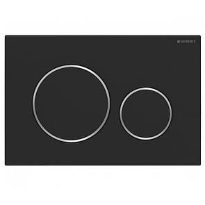 Смывная клавиша GEBERIT  SIGMA20 двойной смыв с легкоочищаемой поверхностью черный матовый/хром глянцевый