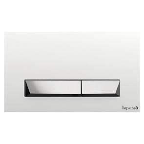 Смывная клавиша IMPRESE  IMPRESE PAN, белая с хромом, пластик
