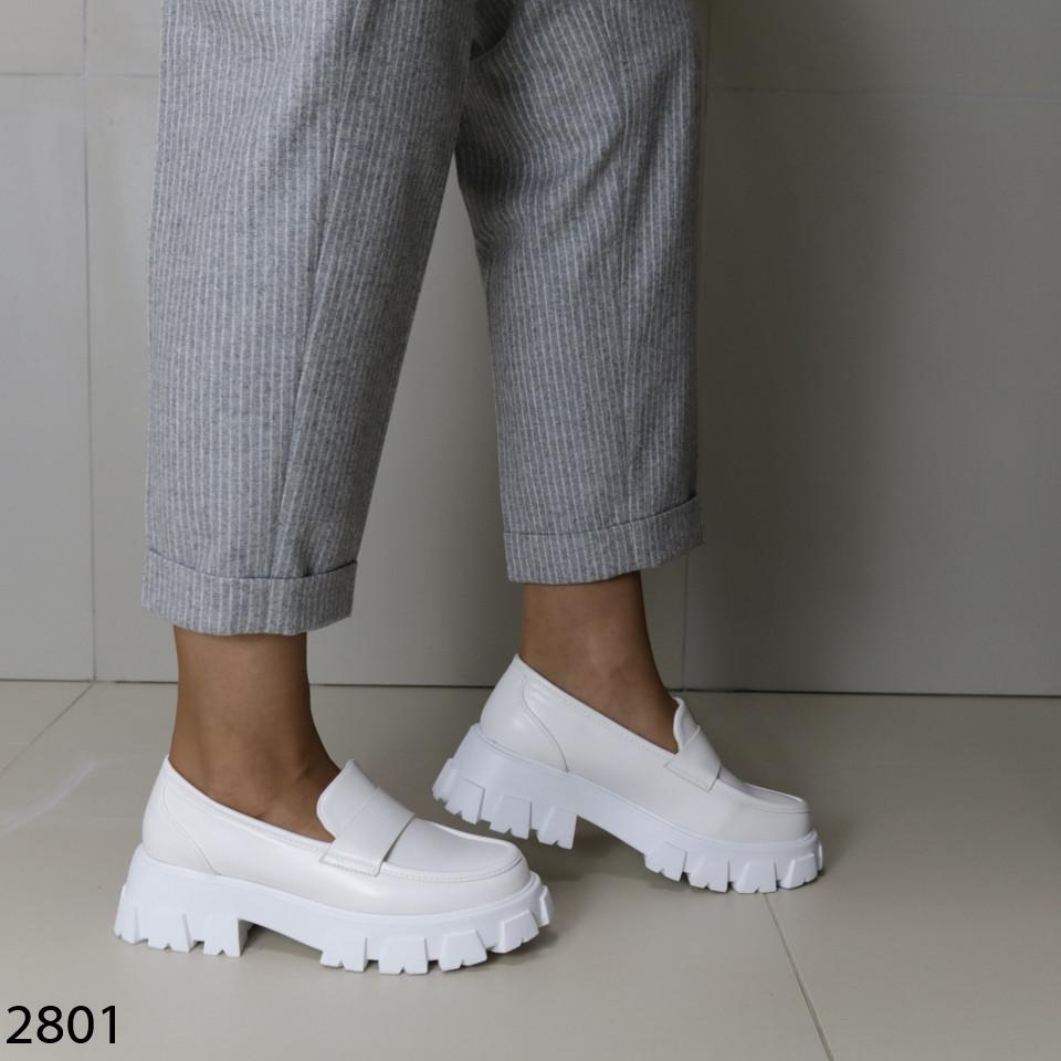 Женские белые туфли, экокожа