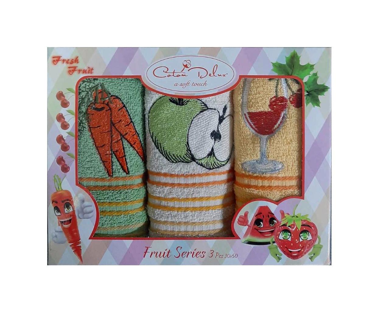 Набор из 3-х махровых полотенец Gursan. Cotton Fruits 01
