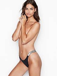 💋 Трусики зі стразами Victoria's Secret Shine Strap Brazilian Panty, Чорні
