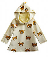 Детское платье-туника с капюшоном молочная для девочки, рост 98