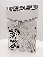 Деревянная коробка для упаковки подарка к 8-Марта. Подарочная коробка. Коробка для алкоголя. Винная коробка.