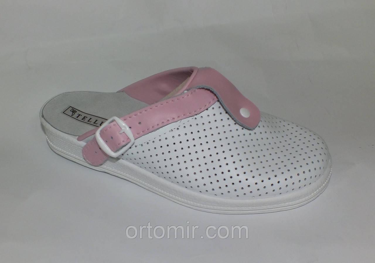 Тапочки медицинские  белые с розовым
